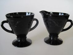 Vintage Black Glass Sugar and Creamer Set