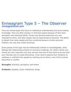 Enneagram type 5 enneagramwork.com