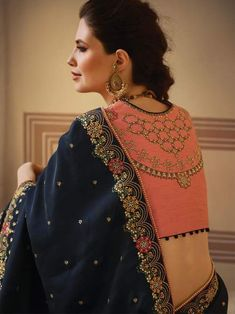 Dark Blue Crepe Embroidered Saree with Embroidered Blouse. Dark Blue Crepe Embroidered Saree with Embroidered printed Blouse, full sleeve, boat neck design, back printed design for indian partywear Choli Blouse Design, Saree Blouse Neck Designs, Fancy Blouse Designs, Blouse Patterns, Embroidery Suits, Embroidery Saree, Wedding Silk Saree, Stylish Blouse Design, Embroidered Blouse