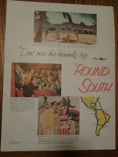 3 Full Page Color Vintage Travel 1952 Print Ads Florida Nassau South America