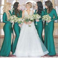 Long sleeve emerald green bridesmaid dresses.   http://mysweetengagement.com