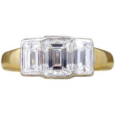 Preowned Modern Emerald Cut Diamond Three-stone Engagement Ring In 18... ($6,912) ❤ liked on Polyvore featuring jewelry, rings, engagement rings, green, gold diamond rings, diamond engagement rings, 3 stone diamond ring, gold rings and gold engagement rings