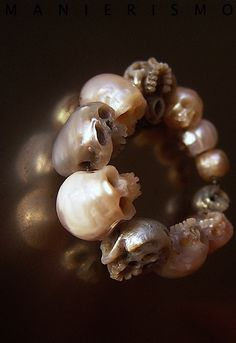 Hand Carved Pearl Ring By Shinji Nakaba