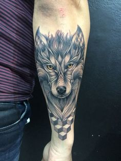wolf tattoo on hand for men