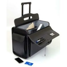 """19"""" Rolling Catalog Pilot Case Wheeled Briefcase Sample Lawyer Wheels Attache NW"""
