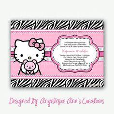 Zebra Print And Hello Kitty Baby Shower Invitations By Jayarmada2, $13.99