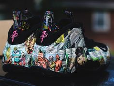 We've seen the Nike Air Foamposite's upper hit with a number patterns and prints over the last year that we shouldn't be all too surprised when we see a custom adorned with an all-over print comic strip upper, we just … Continue reading → Custom Jordans, Custom Sneakers, Custom Shoes, Kicks Shoes, Lit Shoes, Shoes Sneakers, Zapatillas Jordan Retro, Foams Shoes, Nike Foamposite