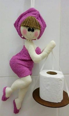 Discover thousands of images about Marina Baires Diy Toilet Paper Holder, Toilet Roll Holder, Doll Crafts, Sewing Crafts, Sewing Projects, Bathroom Crafts, Diy Couture, Sewing Dolls, Felt Diy