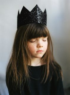 "100philosophers: "" 	ninel by apasz Via Flickr: black glitter crown patkas kids…"