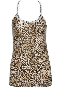 ROMWE | ROMWE Coffee Leopard Print Diamante Vest, The Latest Street Fashion