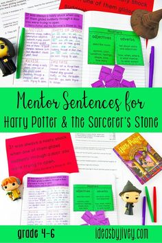 Mentor sentences are the perfect way to teach grammar and author's craft through examples of excellent sentences from your favorite read-aloud books! This mini-unit is just what you need to implement mentor sentences in your classroom with the novel, Harry Potter & the Sorcerer's Stone. Each of the lessons includes the teacher sentence page, the student sentence page, a lesson plan page with possibilities for all 4 days, an interactive activity for the focus skill, and a quiz with answer key