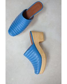 d00009b7d0964 Beklina - Blue Ribbed Lego Clog Denim - Lyst Sensible Shoes