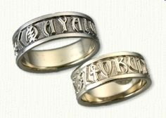 14kt White Gold Custom African Bands With Names And Symbols