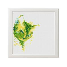Watercolour Cat Modern Counted Cross Stitch Pattern PDF