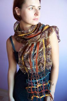Oriental Touch - #nuno #felt #Turkish #scarf of #rich #design finished with a #felted #lattice - #craft of #wild #desire