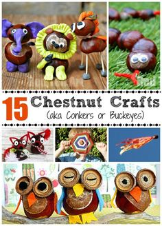This is one of my most precious childhood memories - crafting with conkers (also known as horse chestnuts or buckeye crafts) - I love the smooth texture and the fun chestnut crafts you can make. Here re 15 lovely ideas for Fall Autumn Crafts, Fall Crafts For Kids, Nature Crafts, Toddler Crafts, Preschool Crafts, Diy For Kids, Fun Crafts, Conkers Craft, Buckeye Crafts