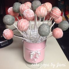 Baby girl Babyshower cake pops. Pink grey and white themed Baby shower . Go to cake pops by Jami on Facebook to see what else I can do.
