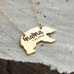 Mama Bear Necklace, Mothers Day gift, Momma bear necklace, gold mama necklace, custom personalized established year, mom gift, mama gift by TagYoureItJewelry on Etsy