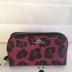 NWT Coach Ocelot Cosmetic bag! Super cute hot pink ocelot make up bag! Coach Bags Cosmetic Bags & Cases
