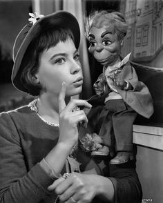 Leslie Caron and Carrot Top (the puppet- not the comic) in this publicity still for Lili (1953)