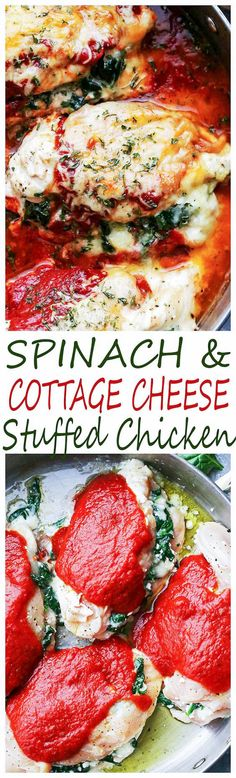 Saucy Spinach and Cottage Cheese Stuffed Chicken – Easy, delicious, yet healthy stuffed chicken breasts with spinach and cottage cheese all baked in a hot and bubbly pasta sauce. (Baking Tips Chicken Breasts) Meat Recipes For Dinner, Turkey Recipes, Chicken Recipes, Chicken Meals, Healthy Stuffed Chicken Breast, Cheese Stuffed Chicken, Clean Eating, Healthy Eating, Cooking Recipes