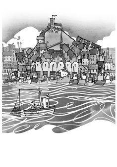 Setting the scene, Illustrating where The White Arrow Assassin children's book is set. Lots of lovely pen and ink work and getting a bit excited drawing the waves and all the little boats and houses.