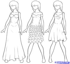How to Draw Clothes Step by Step | Draw Dresses, Step by Step, Fashion, Pop Culture, FREE Online Drawing ...