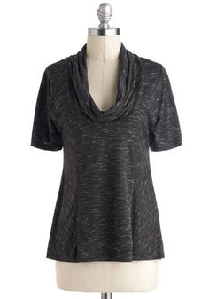 Overnight Travel Top in Pepper - Black, Casual, Short Sleeves, Cowl, Exclusives, Mid-length, Variation, Travel