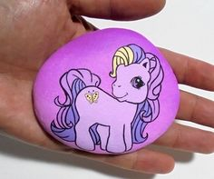 My little pony Hand Painted Stone Original by RockArtAttack