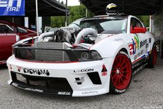 Tony B's Formula Drift Mustang on Custom Painted Red Racing Series Wheels