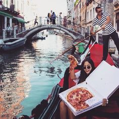 Pin for Later: #GirlsWithGluten Celebrates Women Eating Tons of Carbs Gondola Ride With Your Soulmate Soulmate = pizza.