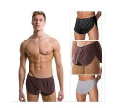 1Lot/2pcs Comfortable Sexy Men's Boxer U convex pouch Underwear Split Short Smooth Slacks Pajama Bottoms Men  White Black Brown