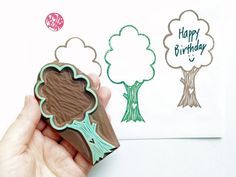 love tree hand carved rubber stamp. woodland stamp. label stamp. diy birthday/thanksgiving/christmas. scrapbooking. for snail mails/notes