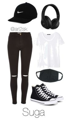 """""""Nyc with BTS- Suga """" by ari2sk ❤ liked on Polyvore featuring Violeta by Mango, River Island, Converse, NIKE and Beats by Dr. Dre"""