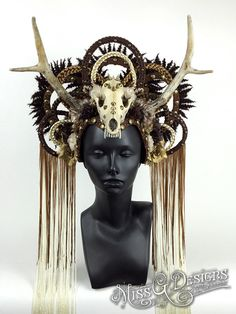 Skull & Antler Headdress FAUX by MissGDesignsShop on Etsy