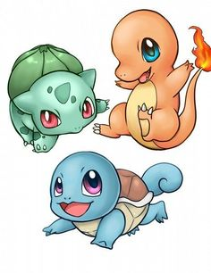 Bulbasaur , Squirtle and Charmander: