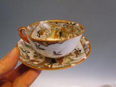 ANTIQUE signed JAPANESE ROYAL SATSUMA LITHOPHANE PORCELAIN TEA CUP & SAUCER