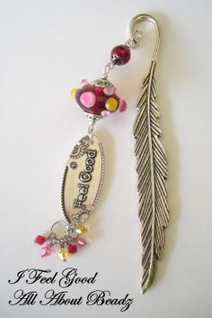 Feather Bookmark, Silver Metal Bookmark, Red Bookmark, Lampwork Bead. https://www.etsy.com/shop/Beadsery https://www.facebook.com/Beadsery