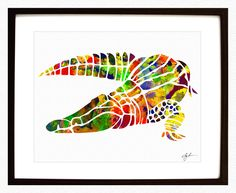 Alligator Watercolor  Archival Print  Crocodile by MetroArtGallery, $15.00