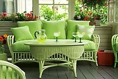 maine cottage wicker in a beautiful bright shade of green - loving it