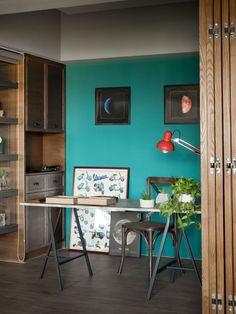 Open bureau ruimte - blauw kleuraccent