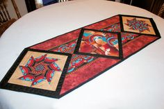 Southwest Quilted Table Runner  in Rust, Black and Tan, Geometric, Native American Indian Kokopellis, Western Table Decor Masculinem