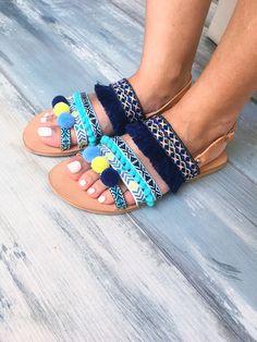 """Sandals """"Veronica"""", bohemian sandals, gladiator sandals, blue sandals, fringes , pom pom sandales, made by genuine leather"""