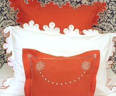 Julia B. Calais Bedding Collection - Calais Orange Linen Euro Sham with White Embroidery, White Percale with Orange Embroidery and Arles