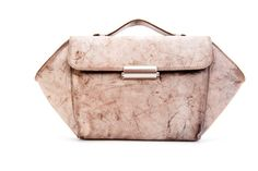 Beige Leather Women Clutch / Scratched by EllenRubenBagsShoes