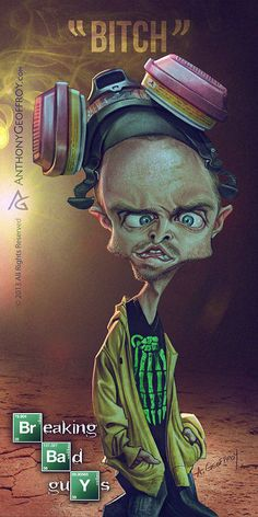 Jesse Pinkman - Breaking Bad Caricature Art by Illustrator and caricaturist Anthony Geoffroy Breaking Bad Arte, Affiche Breaking Bad, Serie Breaking Bad, Jesse Pinkman, Walter White, Beaking Bad, Comic Style, Aaron Paul, Dark Images