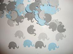 FREE SHIPPING 100 grays and light blue elephant confetti- baby boy shower- elephant theme- customize colors. $4.50, via Etsy.