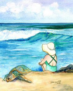 Turtle at the Beach Original Watercolor Painting from Kauai Hawaii sea turtle Hawaii children's art animal paintings Hawaiian decor waves (89.00 USD) by kauaiartist