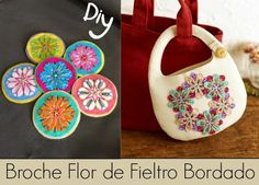 Broche Flor de Fieltro Bordado Diy - enrHedando