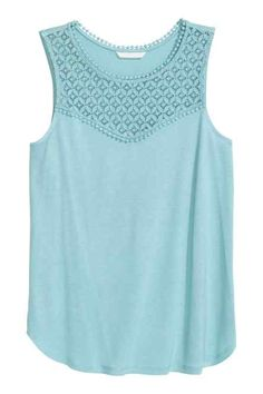 Vest top with lace - Light turquoise - Ladies H&m Fashion, Fashion Online, Womens Fashion, Latest Fashion For Women, Latest Fashion Trends, Light Turquoise, Personal Style, Clothes For Women, Tank Tops